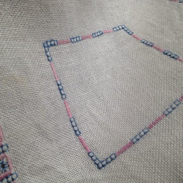 【北欧雑貨スウェーデン】ヴィンテージ◆もういちど使って欲しい◆刺繍クロス【7】麻のクロス・レトロな水色とピンクの刺繍モチーフ_画像5