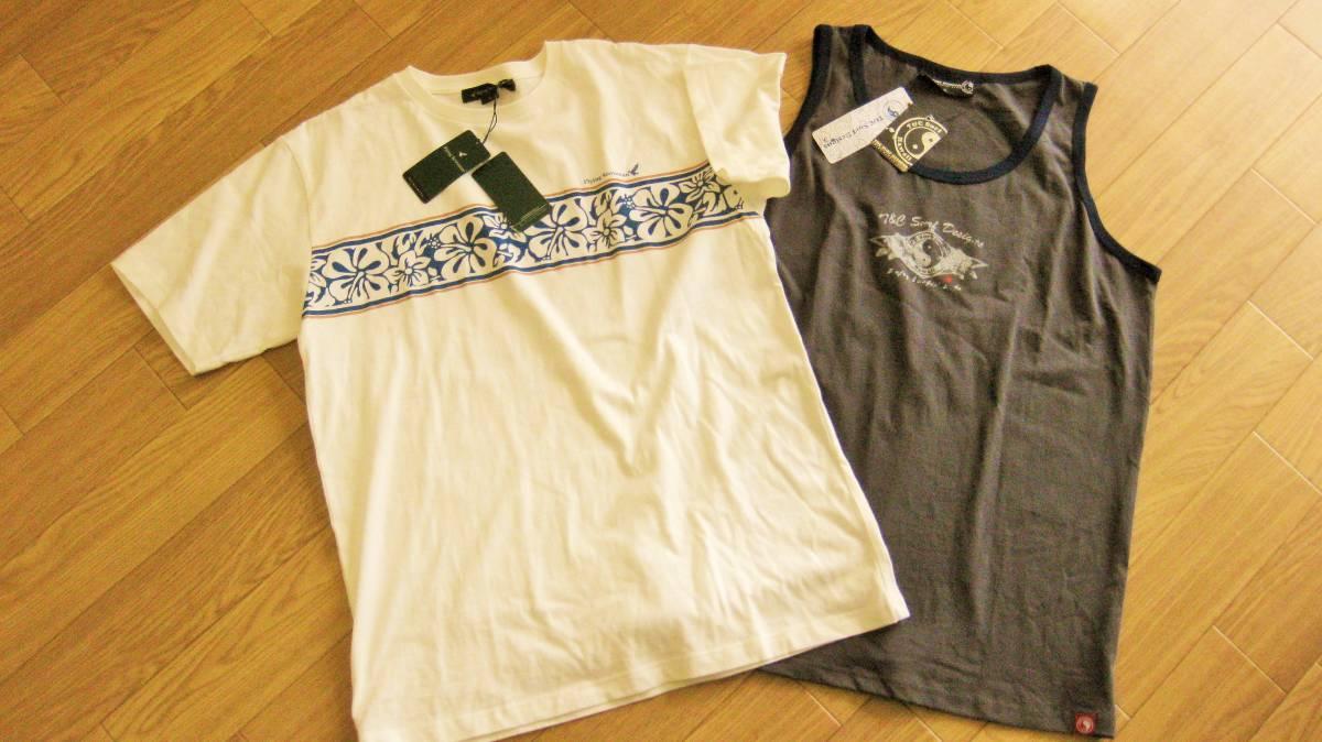 夏の2枚組だよ!★フライングスコットマンとT&Cタウン&カントリー.メンズ半袖TシャツとタンクトップXLサイズ2点Aセット_画像1