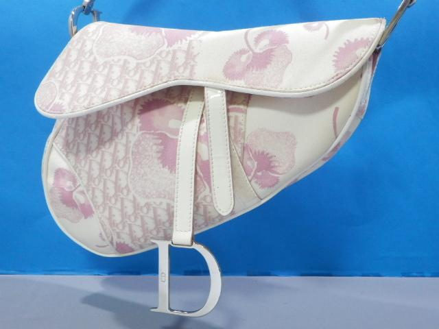 1円 Dior ディオール サドル 花柄 トロッター キャンバス×エナメル ショルダー バッグ