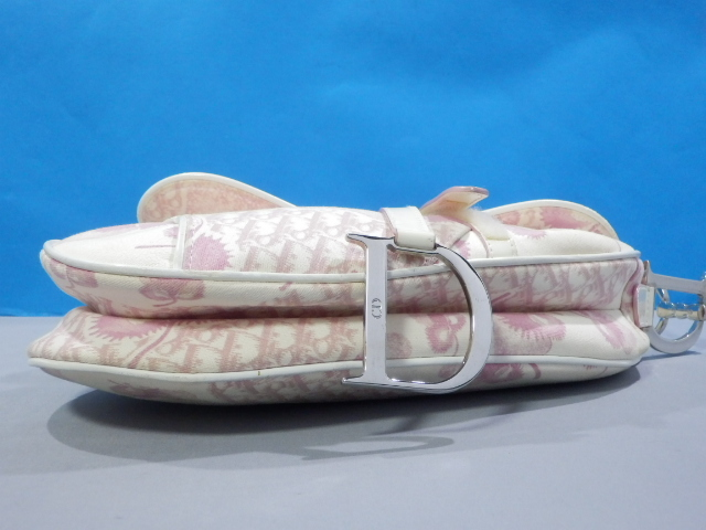 1円 Dior ディオール サドル 花柄 トロッター キャンバス×エナメル ショルダー バッグ_画像6