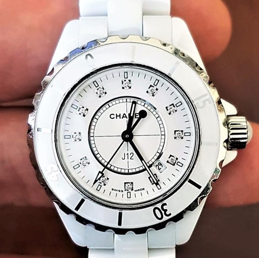 5537b20e795d 代購代標第一品牌- 樂淘letao - 中古美品シャネル【CHANEL】J12 H1628 ホワイトセラミック33MM 純正12Pダイヤ クォーツレディース腕時計