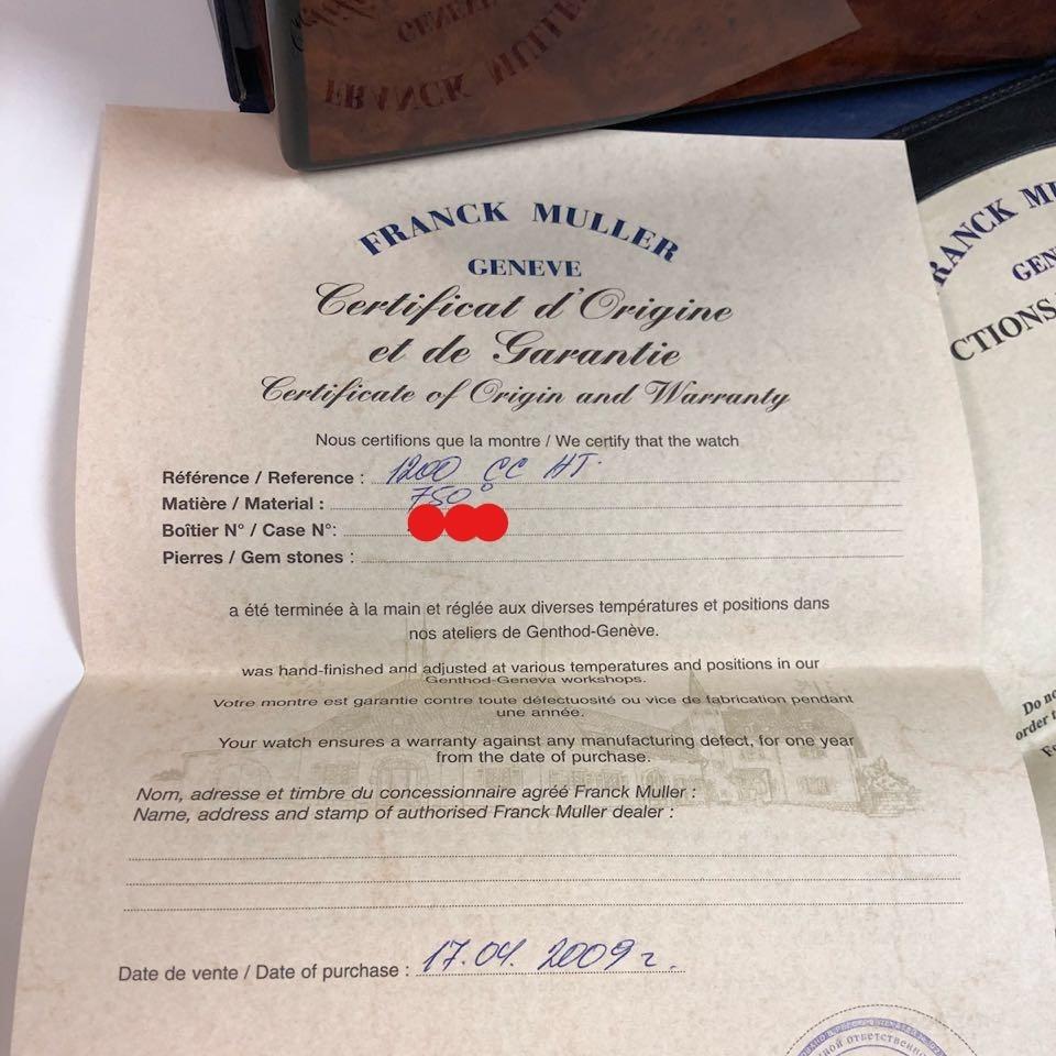 新品 フランク・ミュラー ロングアイランド クロノグラフ 1200CC AT 自動巻き シルバー文字盤 メンズ ピンクゴールド 定価424万円_画像9