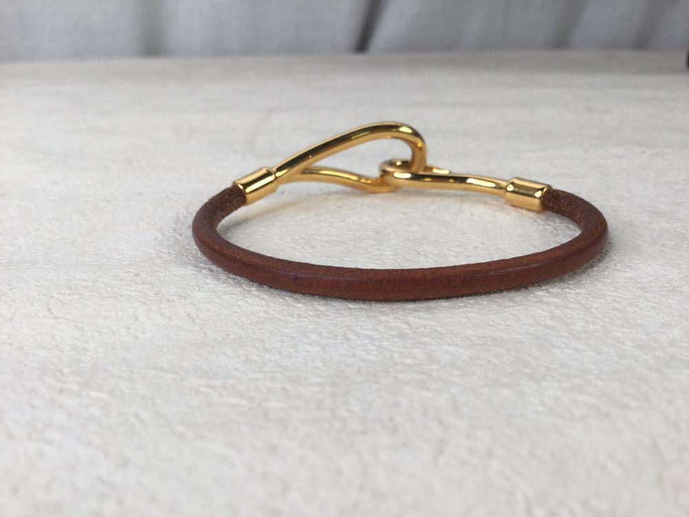 HERMES エルメス ジャンボ 革 レザー ブレスレット アクセサリー ブラウン ゴールド金具_画像5