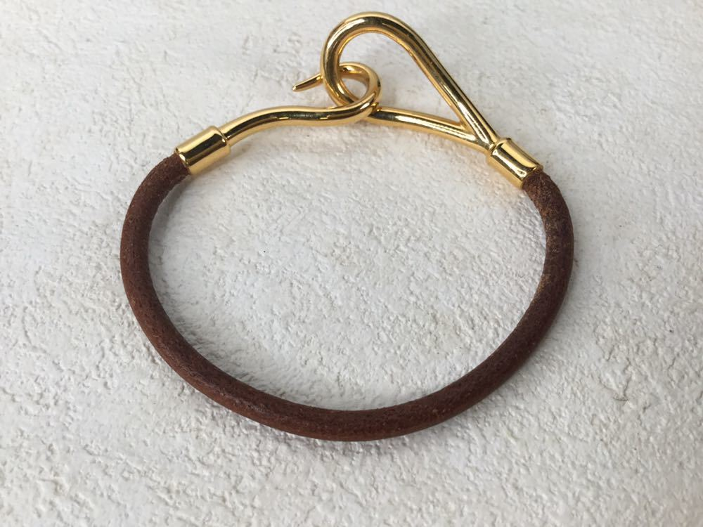 HERMES エルメス ジャンボ 革 レザー ブレスレット アクセサリー ブラウン ゴールド金具_画像7