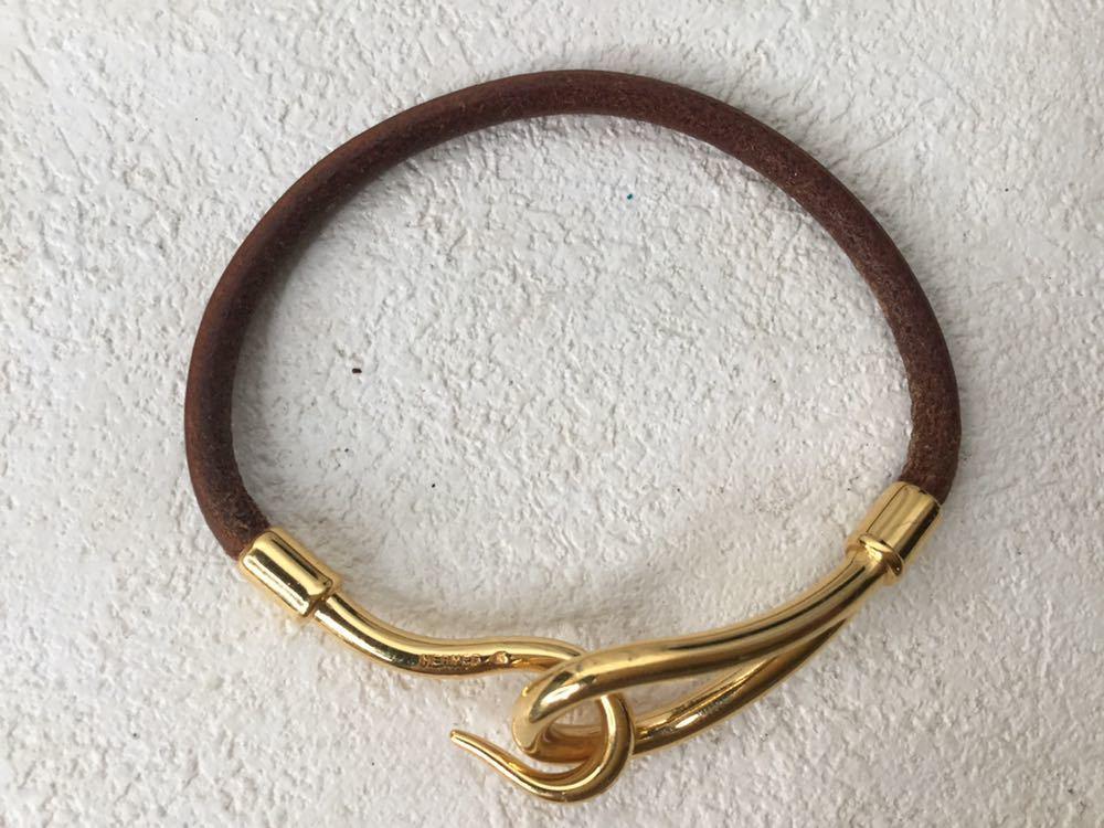 HERMES エルメス ジャンボ 革 レザー ブレスレット アクセサリー ブラウン ゴールド金具_画像2