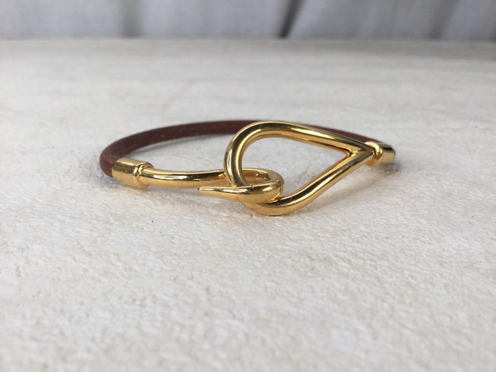 HERMES エルメス ジャンボ 革 レザー ブレスレット アクセサリー ブラウン ゴールド金具_画像3