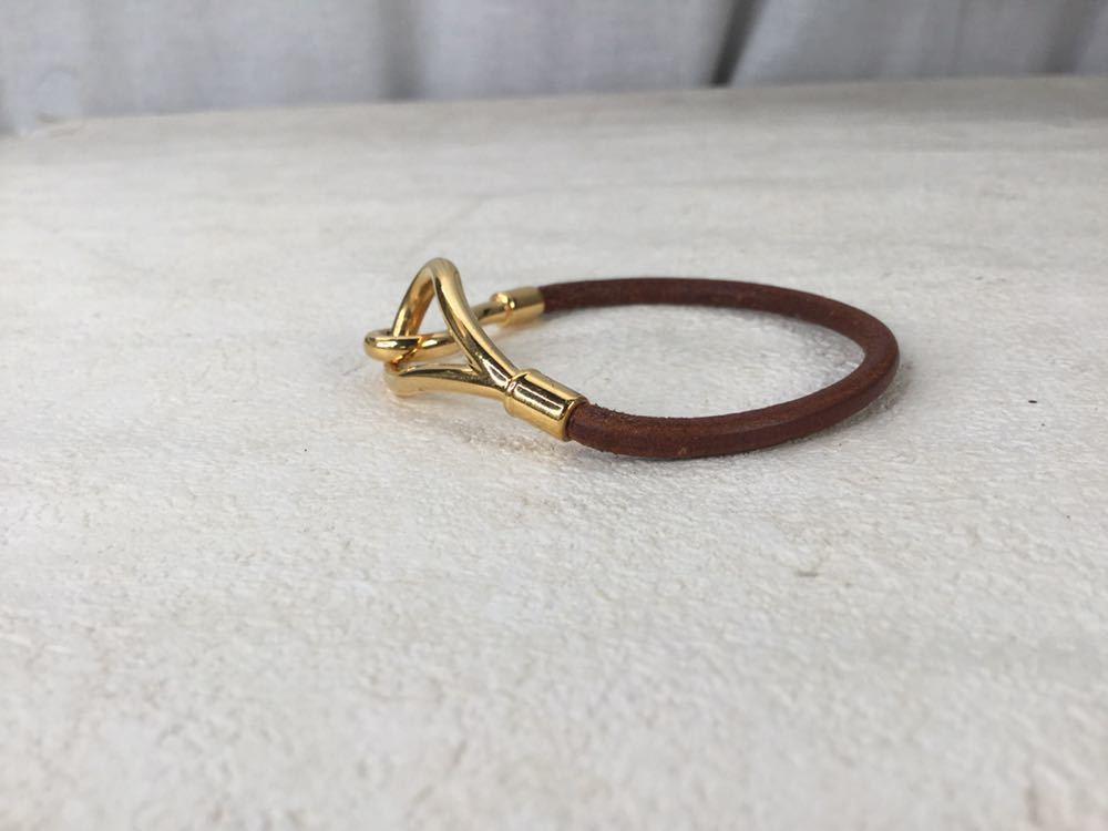 HERMES エルメス ジャンボ 革 レザー ブレスレット アクセサリー ブラウン ゴールド金具_画像4