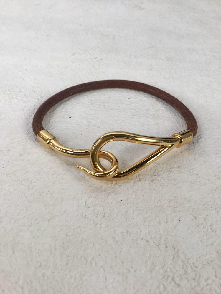 HERMES エルメス ジャンボ 革 レザー ブレスレット アクセサリー ブラウン ゴールド金具