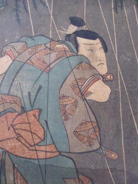 浮世絵の古美術・武士画・名古屋山三・作者名-豊国・江戸時代_画像3