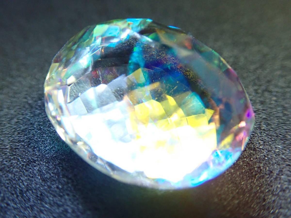 大粒 ハイクオリティ 39.70Ct 裸石(ルース) ミスティッククォーツ ナチュラルミスティックカラー オーバルカット_画像6