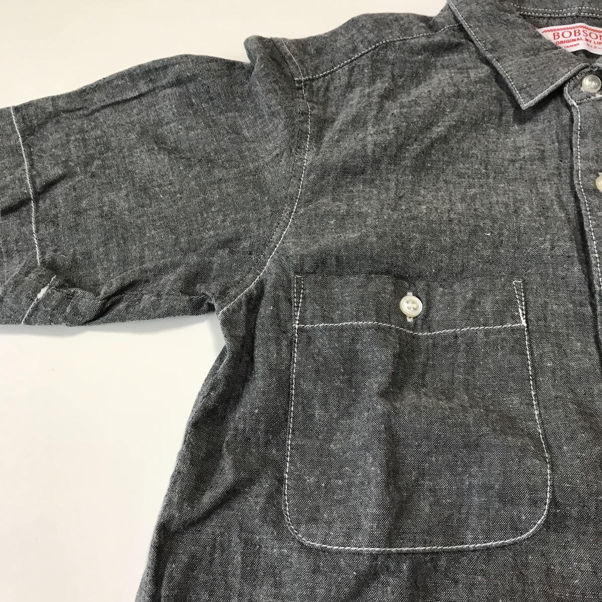 BOBSON 半袖シャツ サイズ130 綿100% グレー色 男の子 お出かけなどにもぴったり クリックポスト185円発送可能_画像5