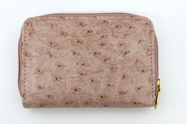 ●新品未使用 本物オーストリッチ コインケース 小銭入れ財布 ピンク レザー 革 ファスナー式 Z2076_画像2