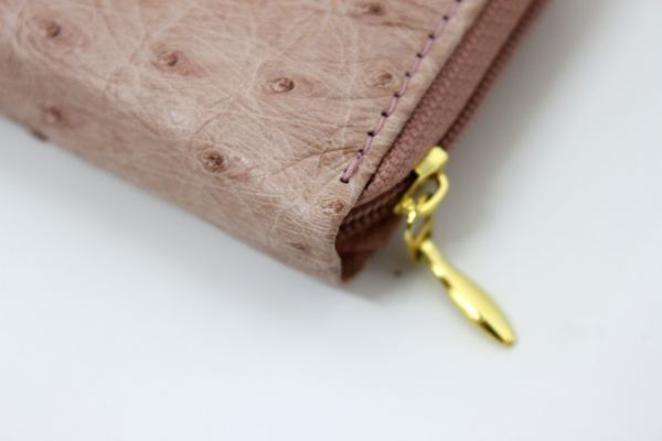 ●新品未使用 本物オーストリッチ コインケース 小銭入れ財布 ピンク レザー 革 ファスナー式 Z2076_画像3