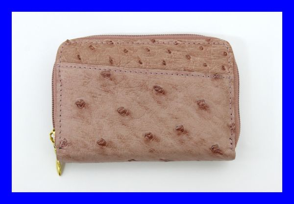 ●新品未使用 本物オーストリッチ コインケース 小銭入れ財布 ピンク レザー 革 ファスナー式 Z2076_画像1