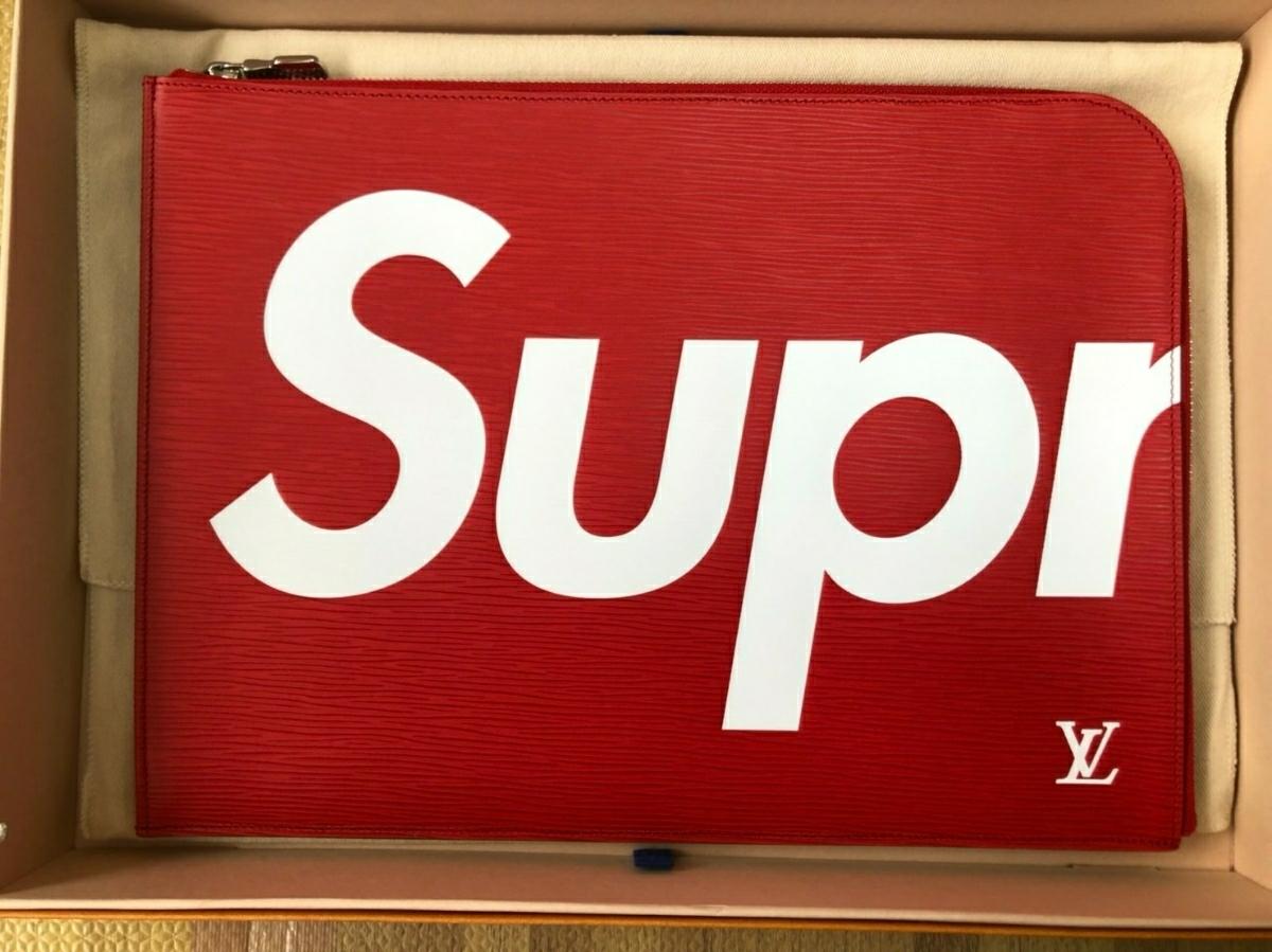 【新品】LOUIS VUITTONx Supreme エピ ラインルイヴィトン シュプリーム ポシェット ジュール M67722クラッチバッグ【正規品】