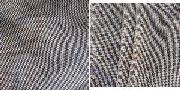 【大島紬】フリル袖/Vネックのフレアーロング丈ワンピース(薄いグレージュ) M~LLサイズ・着物リメイク・シルク・絹 tsu554_画像8