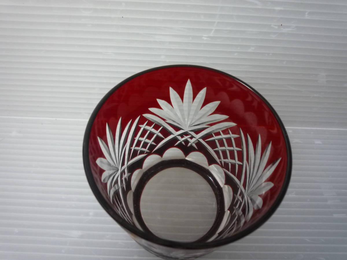 980 カガミクリスタル 江戸切子 ロックグラス紅_画像5