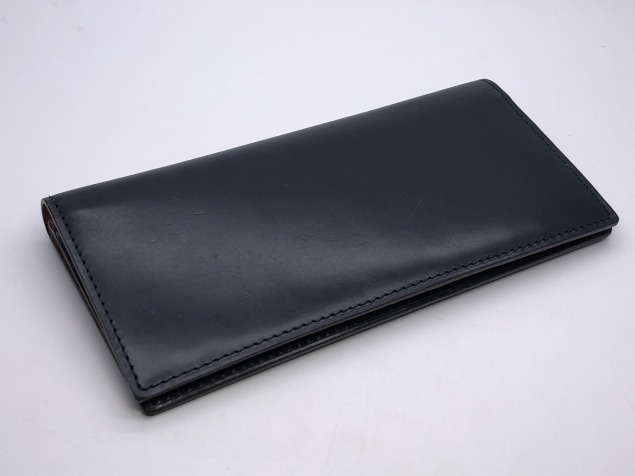 9g4新品◆GANZO fico ブライドルレザー 長財布◆牛革レザー/フィーコbyガンゾ/紺ネイビー_画像1