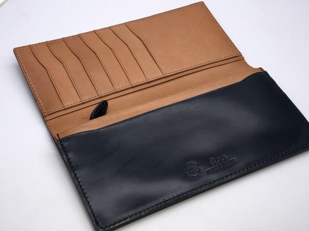 9g4新品◆GANZO fico ブライドルレザー 長財布◆牛革レザー/フィーコbyガンゾ/紺ネイビー_画像3