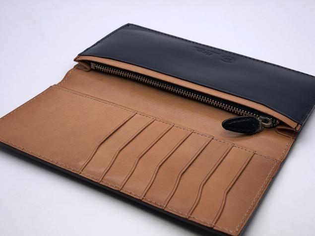 9g4新品◆GANZO fico ブライドルレザー 長財布◆牛革レザー/フィーコbyガンゾ/紺ネイビー_画像4