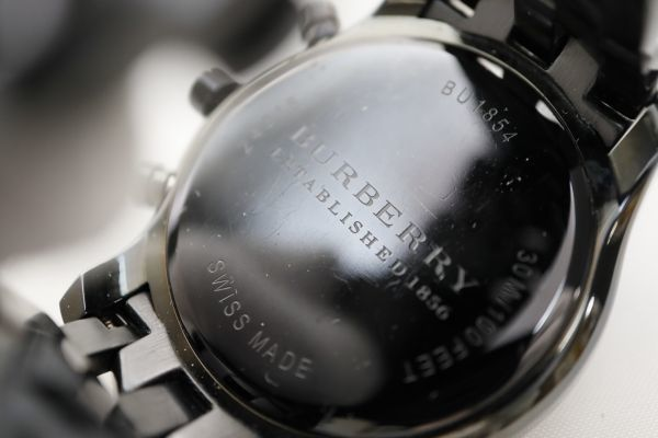 1円 BURBERRY/バーバリー BU1854 クロノグラフ QZ 動作品 84368 (く21)_画像4
