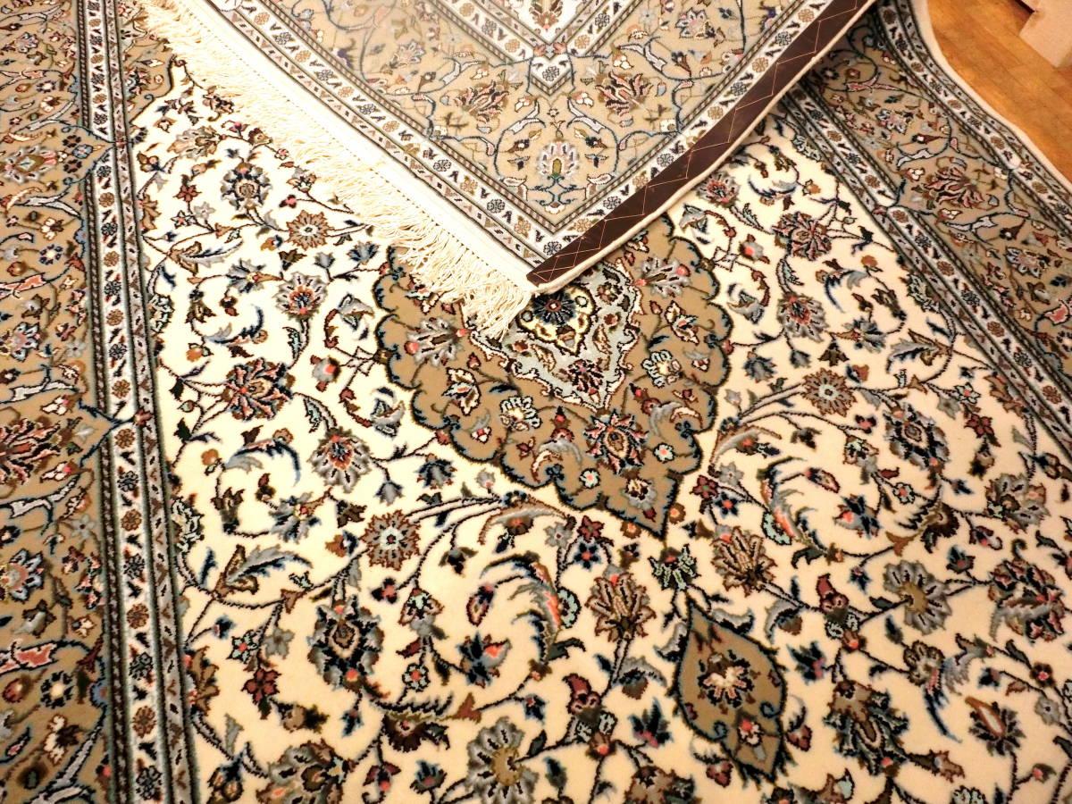 「1526」イラン直輸入☆新品◇カーシャン産 手織り 高級ペルシャ絨毯 オーガニック コルクウール&シルク リビングサイズM 225cm×145cm_画像3