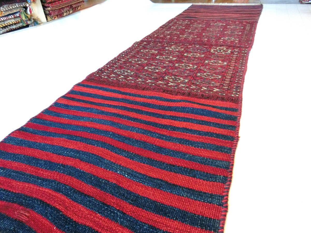 「LO13」イラン直輸入☆ペルシャ絨毯 ♪ キリム 草木染め 手織り ハンドメイド バクティアリ族 ロングサイズ 220cm×60cm _画像3