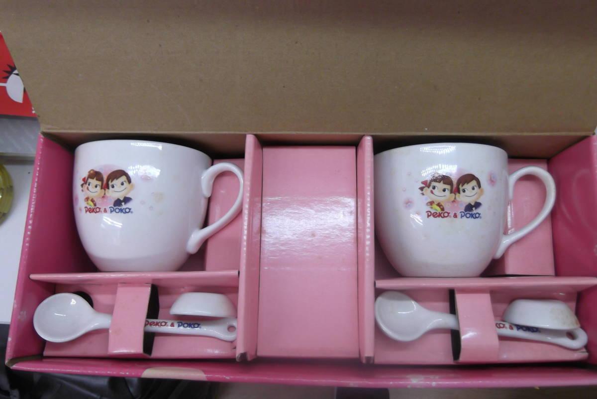 【1577】不二家 ペコちゃん ポコちゃん ペアマグカップ グッズ キャラクター 陶器 食器 インテリア コレクション_画像1