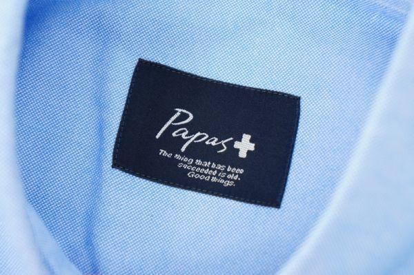 W3946*美品*Papas/パパス*アニマル/動物刺繍*オックスフォードシャツ/半袖コットンシャツ/ボタンダウンシャツ*水色*L_画像4
