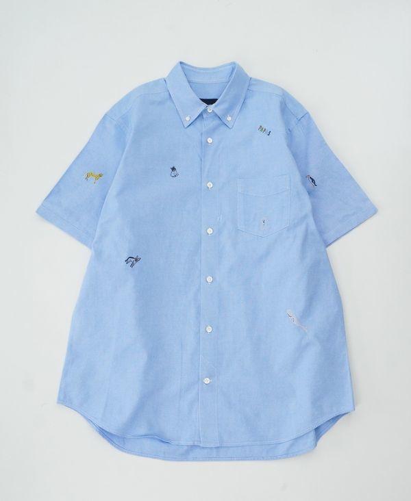 W3946*美品*Papas/パパス*アニマル/動物刺繍*オックスフォードシャツ/半袖コットンシャツ/ボタンダウンシャツ*水色*L