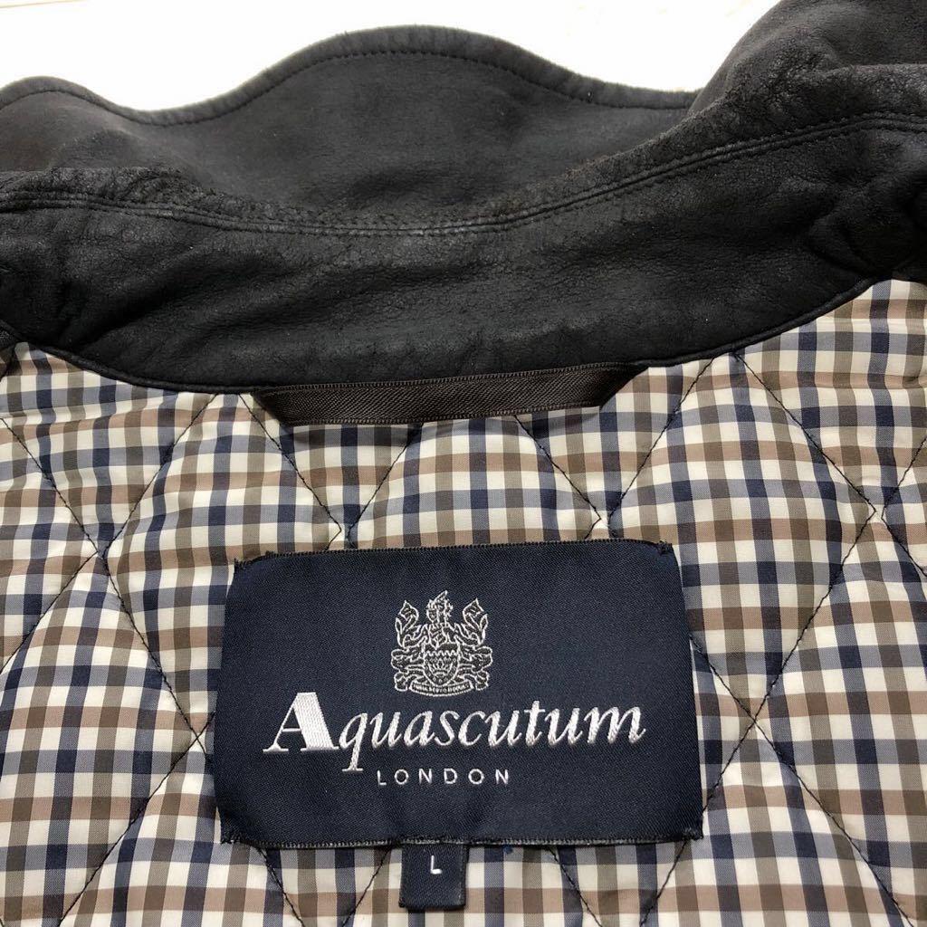 ★中綿入り/チェック柄★アクアスキュータム Aquascutum ジャケット コート 撥水 ブラック×グレー L レディース_画像3