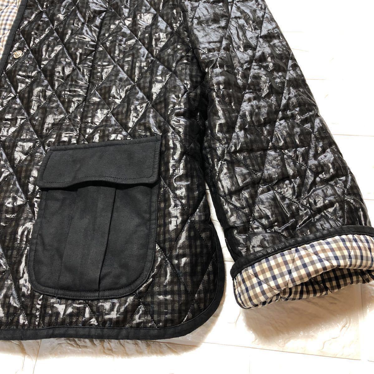★中綿入り/チェック柄★アクアスキュータム Aquascutum ジャケット コート 撥水 ブラック×グレー L レディース_画像8
