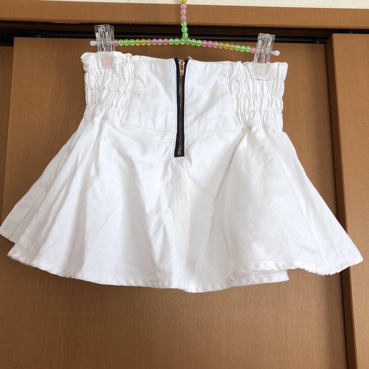 rapipi armario レピピアルマリオ スカパン 140 ホワイト デニム 白 スカート