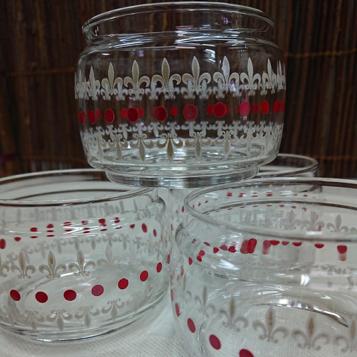 【未使用・デッドストック】アデリア ガラス スカーレット 2段シュガーポット2個 昭和レトロ (キャニスター 小物入れ キャンディ ジャー等)_画像8