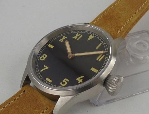 【新品 未使用品】ノーロゴ カリフォルニアダイヤル 43mm 316L 6497 オマージュウォッチ ビッグクラウン 自動巻き腕時計 送料無料_画像3