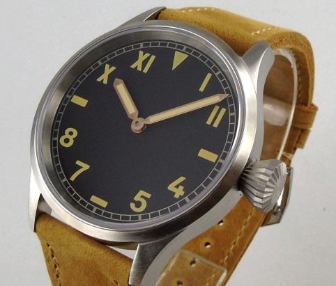 【新品 未使用品】ノーロゴ カリフォルニアダイヤル 43mm 316L 6497 オマージュウォッチ ビッグクラウン 自動巻き腕時計 送料無料_画像1