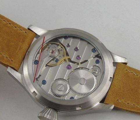 【新品 未使用品】ノーロゴ カリフォルニアダイヤル 43mm 316L 6497 オマージュウォッチ ビッグクラウン 自動巻き腕時計 送料無料_画像2