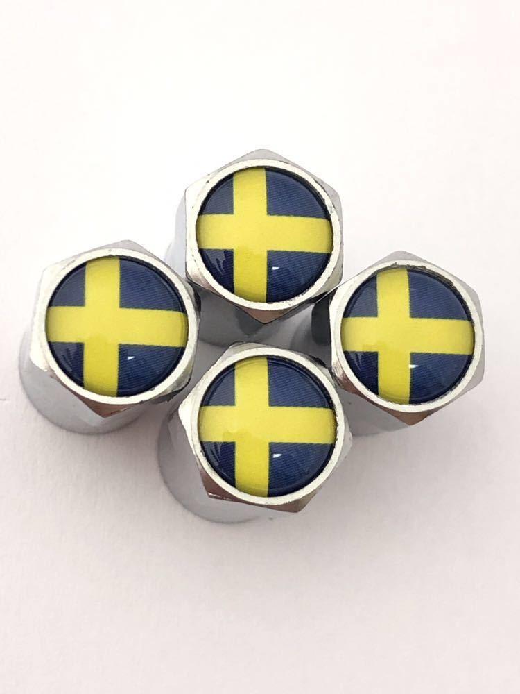 A スウェーデン 国旗 エアーバルブキャップエンブレム ステッカー サーブ SAAB 9-3 9-5 900 セダン カブリオレ スポーツ エステート_画像3