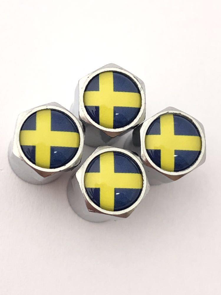 E スウェーデン 国旗 バルブキャップ エンブレム ステッカー フェンダー ボルボ VOLVO V70 V40 V60 V50 XC60 XC90 240 244 264 740 760 780_画像3