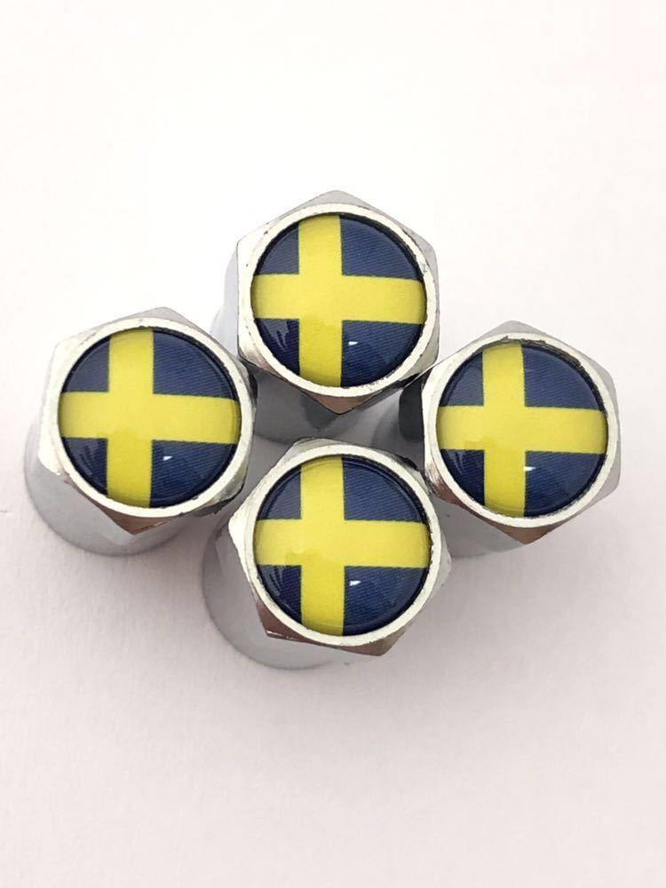 E スウェーデン 国旗 バルブキャップ エンブレム ステッカー フェンダー サーブ SAAB 9-3 9-5 900 セダン カブリオレ スポーツ エステート_画像3