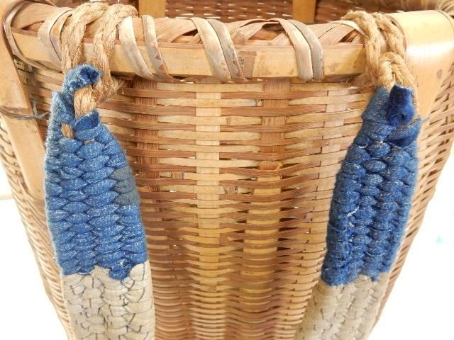 竹製 籐製? 背負い籠 中古 (43×37×50cm) 古民具 農家 農作業 カゴ 大型 レトロ_画像6