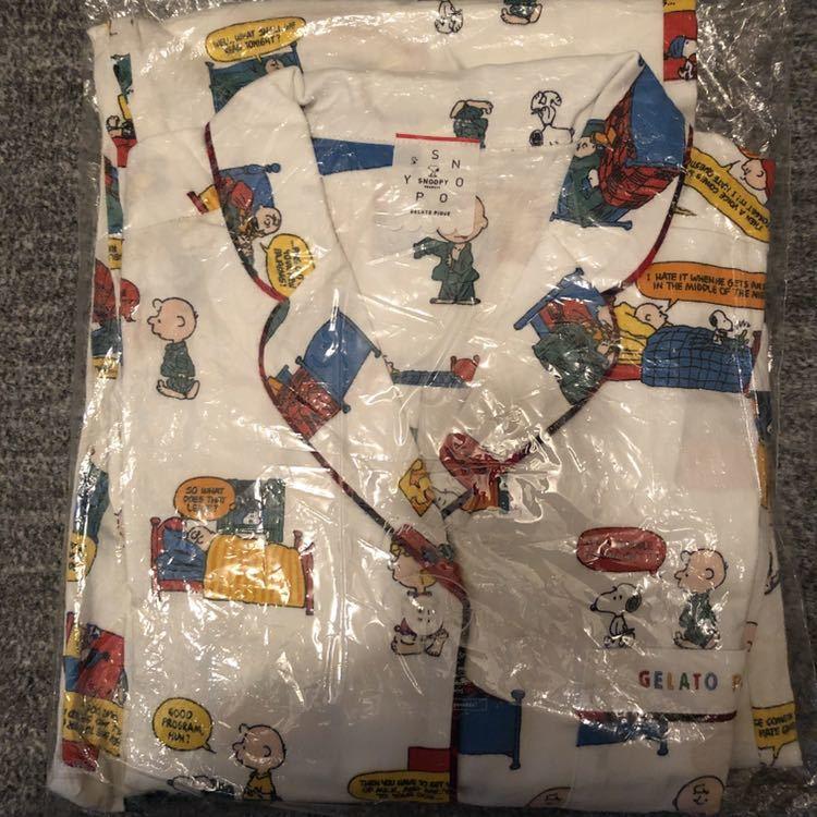 【正規品】新品タグ付き ジェラートピケ スヌーピー パジャマ上下セット ネルシャツ&ロングパンツ_画像1