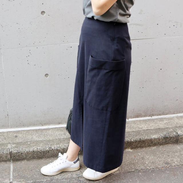 美品 iena Cu/C ビッグポケット アシメントリー スカート◆34 ネイビー 紺 15120_画像8