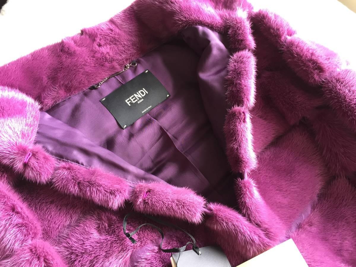即決 新品タグ、付属品付き FENDI フェンディ 最高峰レザーベルト付きミンクファー毛皮コート☆44サイズ_画像3