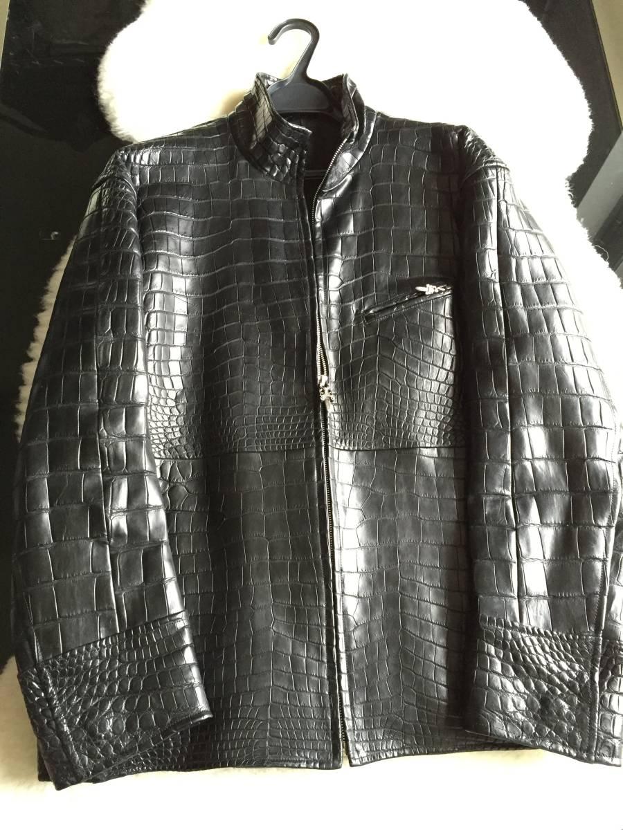 即決 新品同様 クロムハーツカスタム 最高級クロコダイルポロサスレザージャケット☆ブラック_画像1
