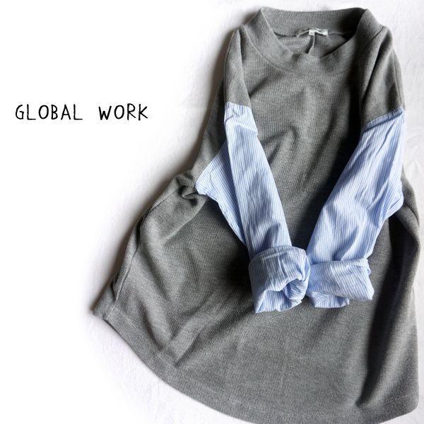 GLOBAL WORK★グレー×ストライプ異素材カットソー★☆