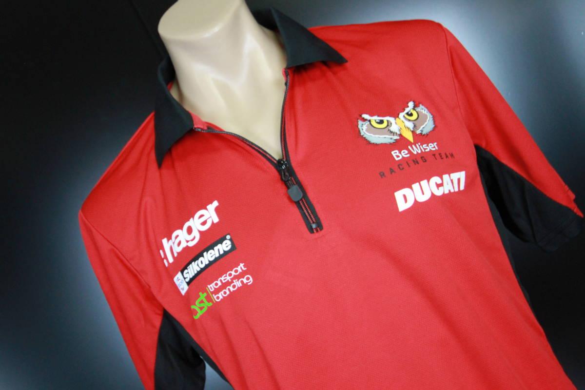 ラスト! 正規品 【Be Wiser DUCATI】 British Super Bike PBM Ducati オフィシャル ポロシャツ 【L】 本物(検:motoGP Ducati Racing )
