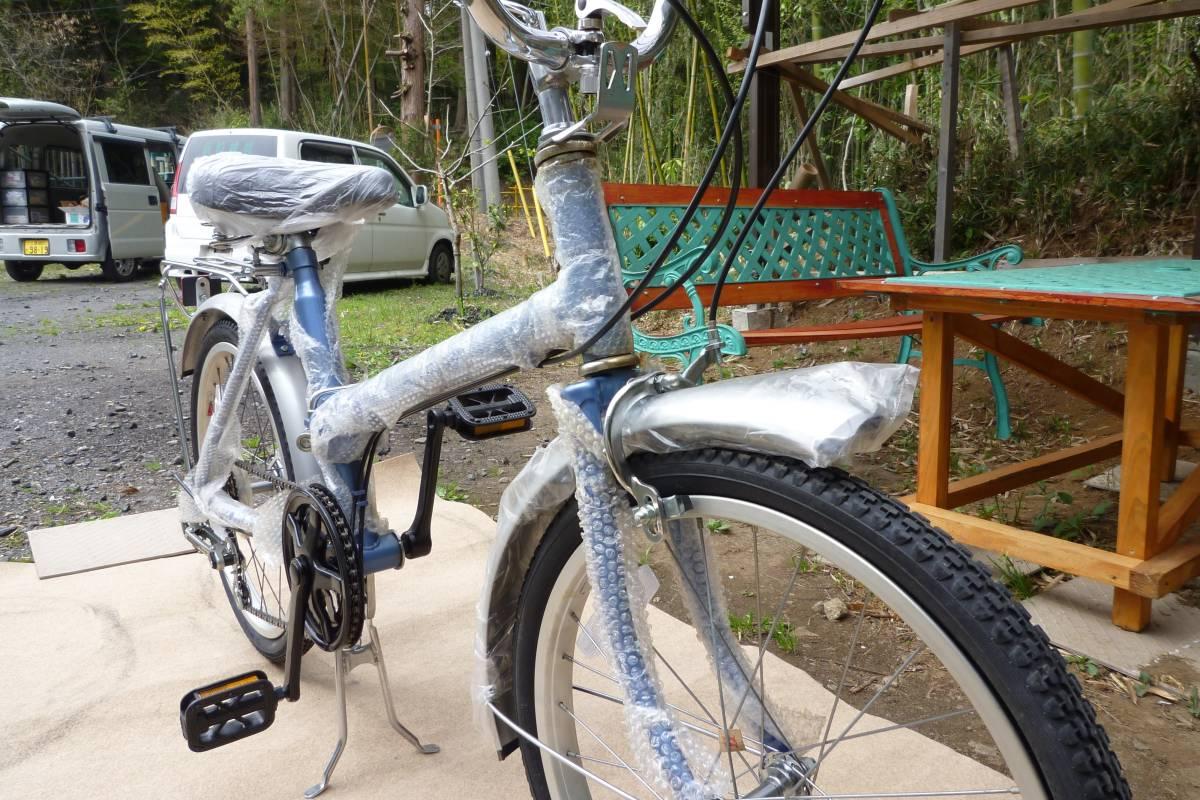 折り畳み自転車 KU-20型 色シルバー&ブルー 5速ギア_画像3