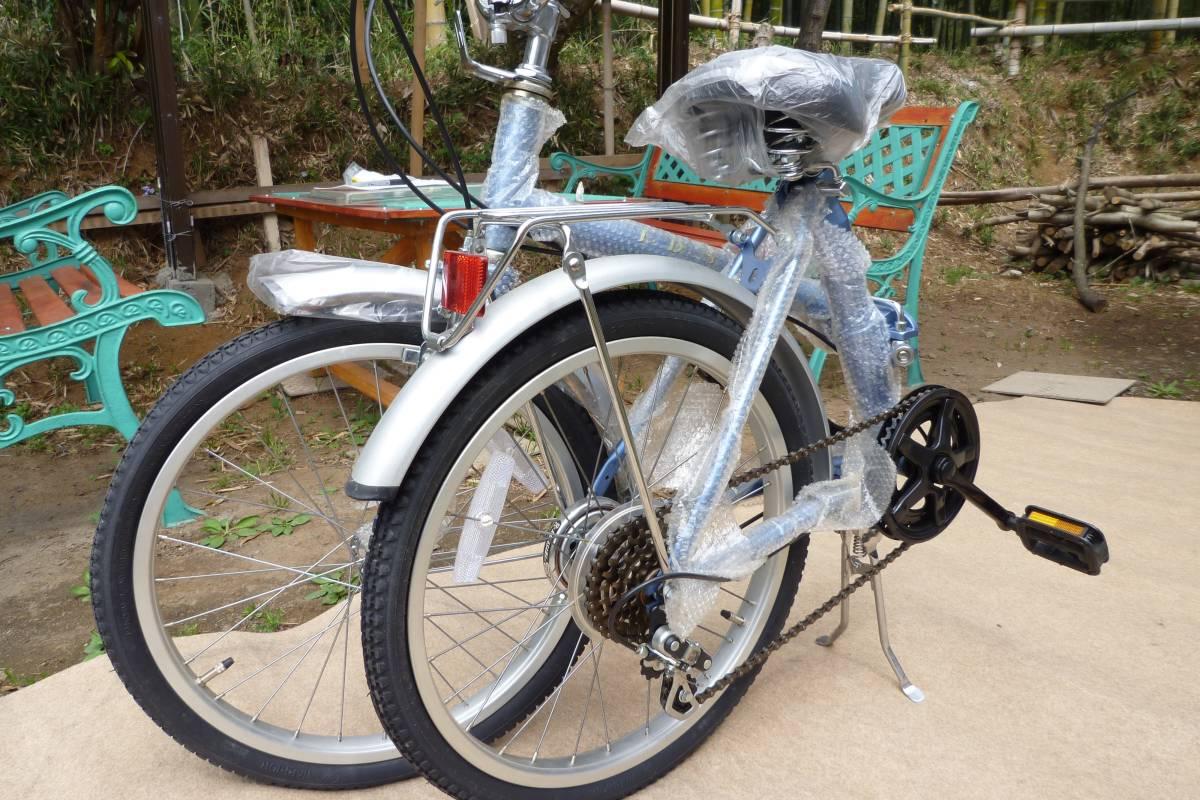 折り畳み自転車 KU-20型 色シルバー&ブルー 5速ギア_画像5