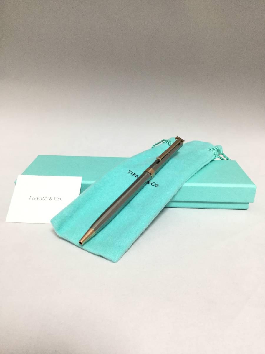 TIFFANY&Co  ティファニー Tクリップ ボールペン ルテニウム シルバー ブロンズ  箱有り 993_画像3